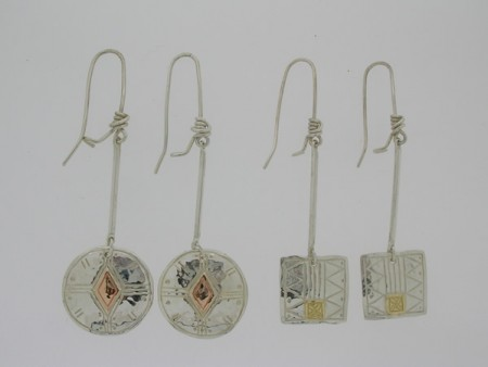 Round & Square Long Drop Earrings