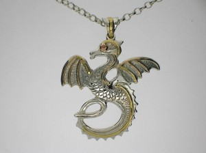 Dragon pendant with 18ct yellow and 9ct rose gold