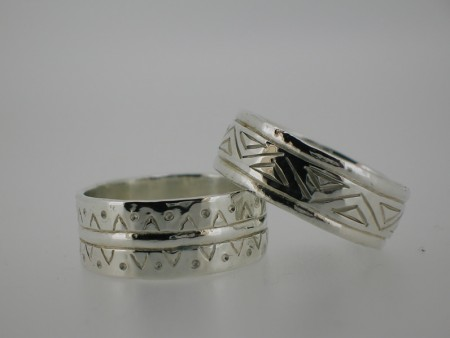 Patterned silver rings