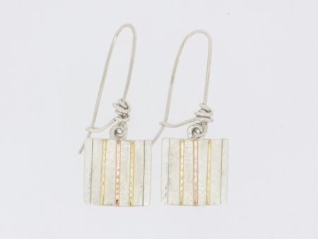 Square Drop with Stripes Earrings